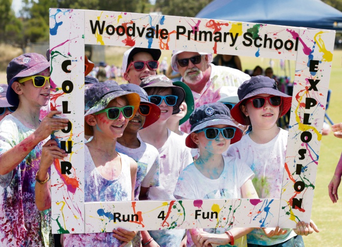 Woodvale Primary School's Colour Run. Photo: Martin Kennealey