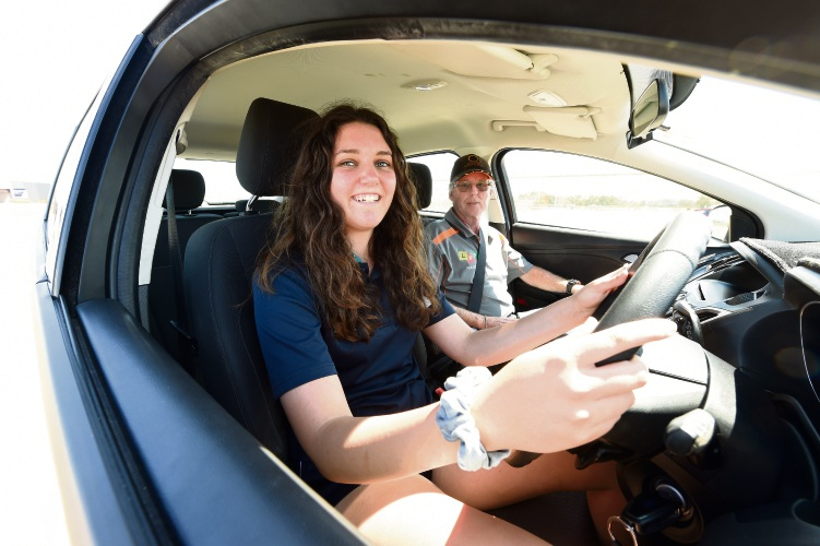 Safety Bay Senior High School Year 10 student Jess Harris with senior driving instructor Marty Lequaietermaine.