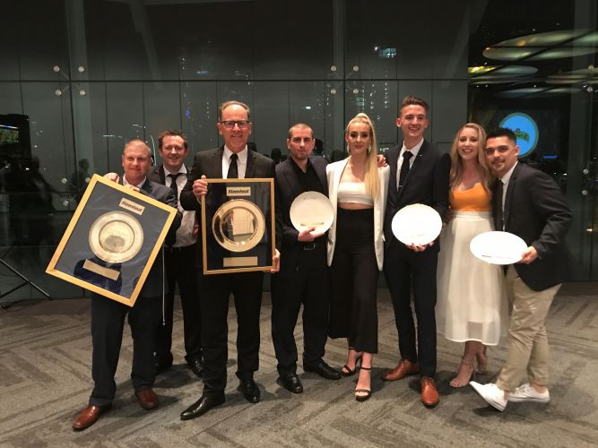 Sandalford chief executive Grant Brinklow (third from left), executive chef Andrew Mann (second from left), restaurant manager Johnny Kyi (far right) and other members of the executive team with their Gold Plates.