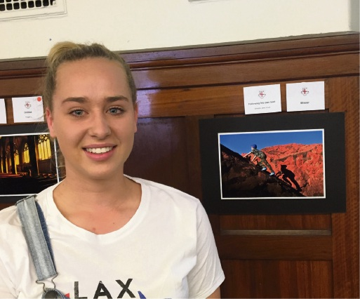 Amelia Hunt with her winning photo at the St George's College photography exhibition.