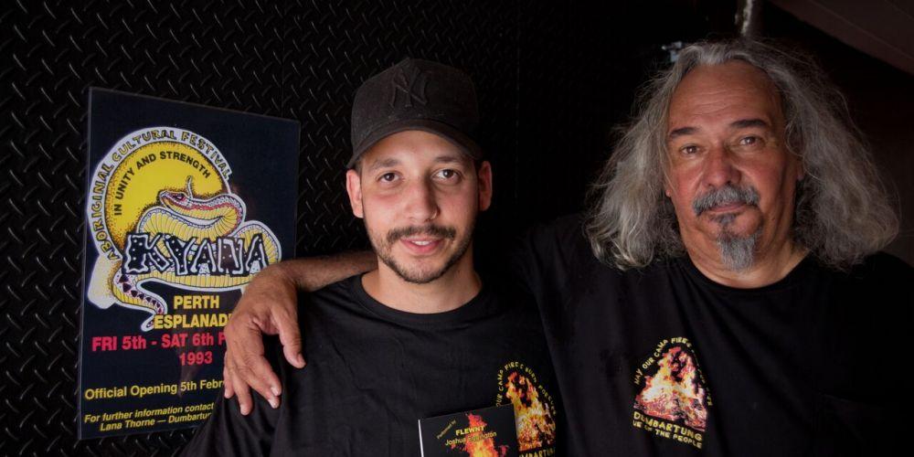 Forrestfield hip hop artist Josh 'Flewnt' Eggington and Dumbartung executive officer Robert Eggington.