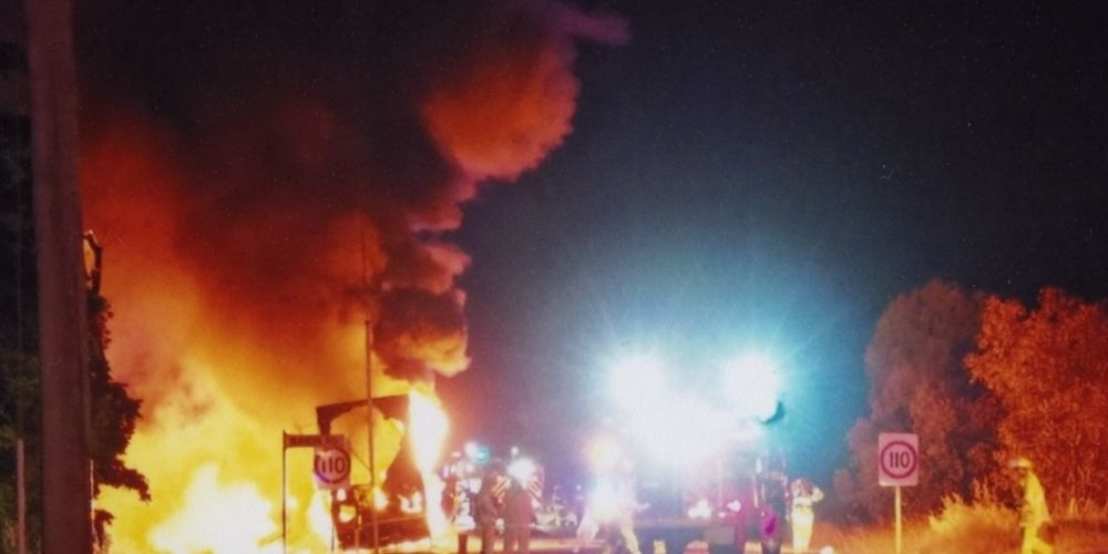 John Turner used a long lens to photograph Monday night's truck blaze on Great Eastern Highway, Wundowie.
