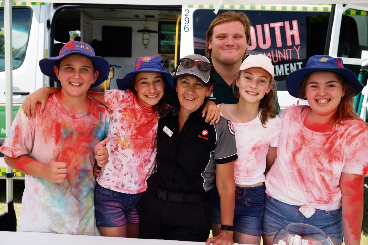 Lynn Roberts and Jordan Campos from St John Ambulance WA with year 6 students Alex Hristianopoulos, Tanami Pasalich, Shana Nikolovski and Mya Adams. Photo: Martin Kennealey