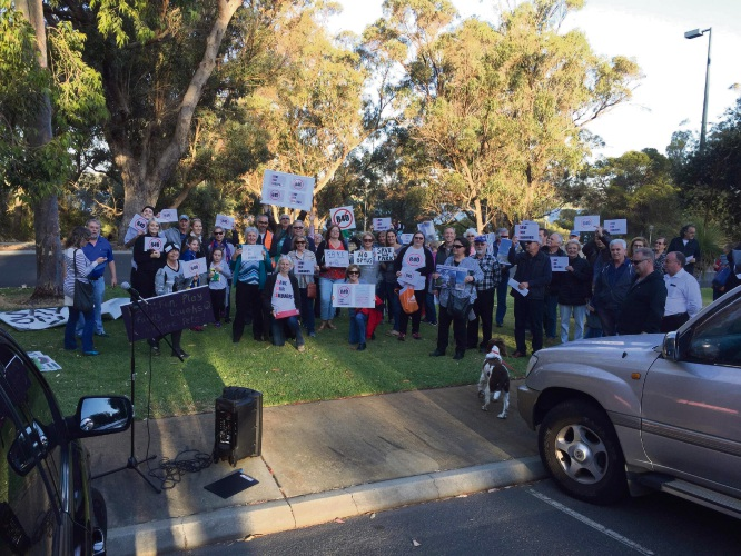 Joondalup residents at the protest on November 20.