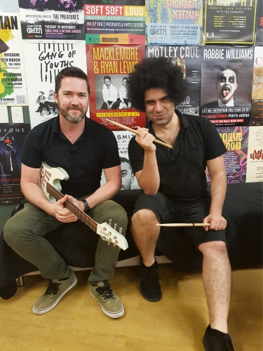 Two of Cockburn Youth Centre's music teachers-Tom Haste and Freddie Mousavi.