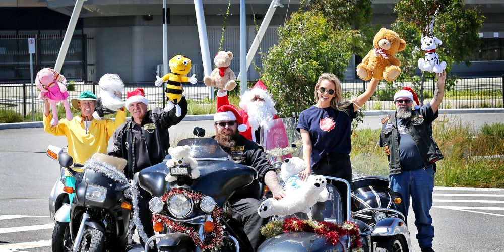 Dave Ferguson, rear left, Fred Meli, Ralph Lovell as Santa and Bandit.  Chewi, front left, and Salvation Army Ambassador Samantha Jade. The annual Perth Bikers' Charity Ride will leave from Optus Stadium. Picture: David Baylis.