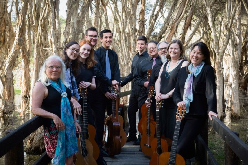 WA Classical Guitar Society director Jane Darcey (left) with fellow musicians and WA Gould  League secretary Karen Cullen (far right).
