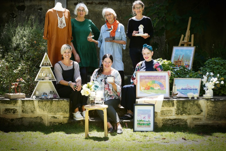 Back L- R Julie Ramsay (Bedtonic) Daglish, Susie Marwick (Artist) Nth Freo and Anthea Carboni (Yuniko Studio) Coogee. Front L-R Lisa Gardner (Kor by Lisa Gardner) Beaconsfield), Fleur Barrett (Wildeflower Luxury Candles) Fremantle and Kathryn Heaney (Prints by Bow) Fremantle. Stall owners returning for the makers market Bazaar. Photo: Andrew Ritchie. d488757 communitypix.com.au.