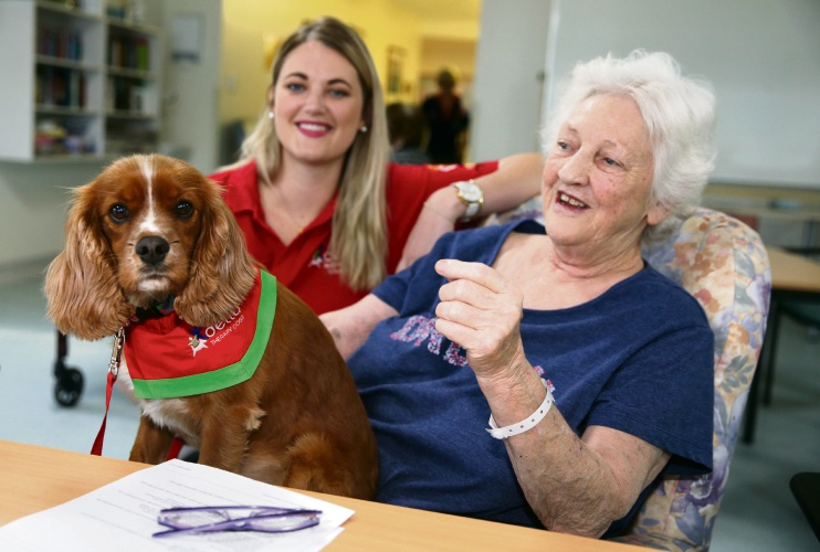 mma Duffy (Delta-therapy dogs) with Judith Patrick (Mt Lawley) and Ruby. Picture: Martin Kennealey.