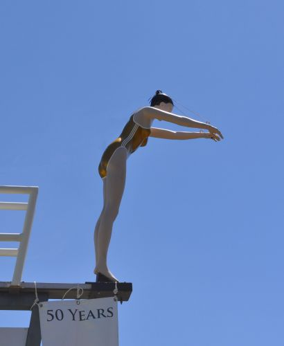 Billie Goman - Bilgoman Aquatic Centre's iconic statue - sporting a pair of golden togs for the centre's golden jubilee.