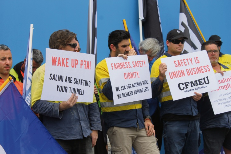 CFMEU protest over Forrestfield-Airport Link tunnel work