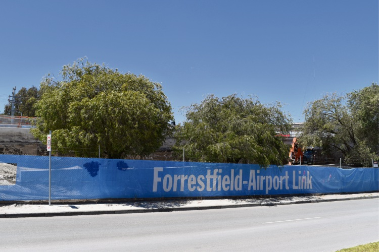 Trees along at the Forrestfield Airport Link construction site along Whatley Crescent, Bayswater. Picture: Kristie Lim.