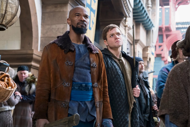 Jamie Foxx and Taron Egerton in Robin Hood.