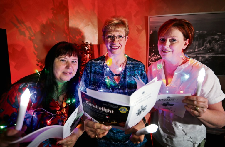 Suzanne Perry, Doreen Rees and Jan Oliver, preparing for the Lions Aveley Carols by Candlelight on December 1 from 5.30pm. Picture: David Baylis.