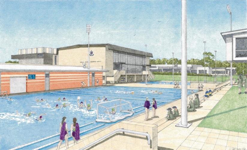 Artist impression of the new joint aquatic precinct.