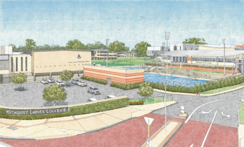 Artist impression of the new joint aquatic precinct from a corner angle.