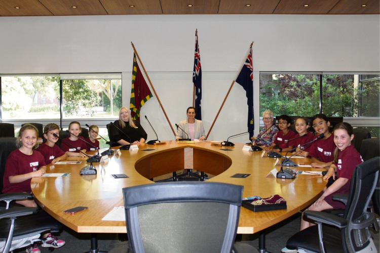 City of Subiaco chief executive Rochelle Lavery and Mayor Penny Taylor with the Subi Kids Crew.