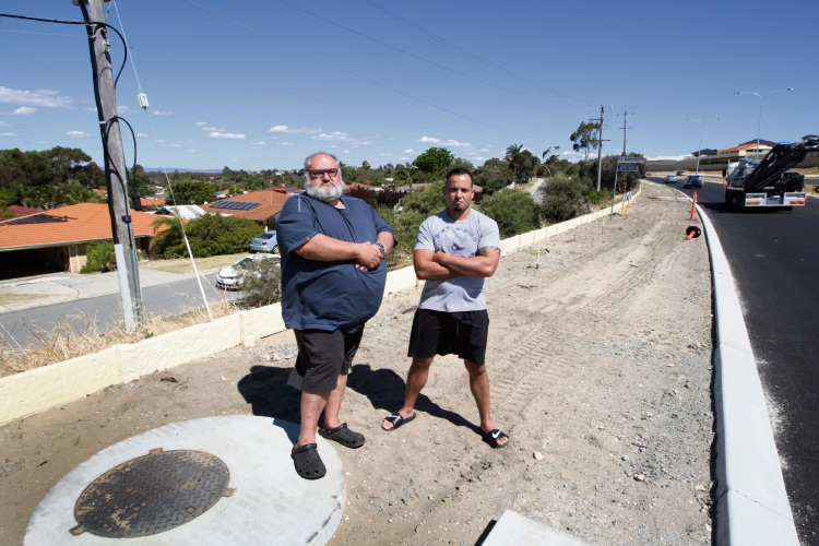 Eric Haskin & Phil Da Silva are two residents unhappy with Spearwood Avenue roadworks. Photo: Bruce Hunt. d488855 communitypix.com.au