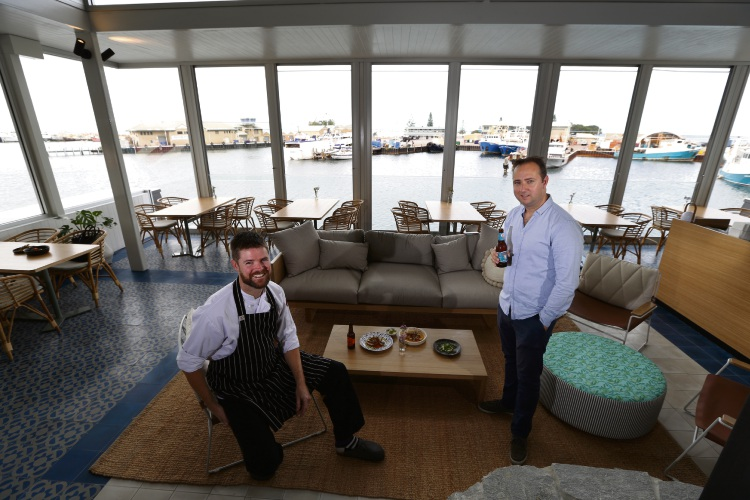 Mathew Powell (head Chef Helm) and Graeme Dick (Head of Hospitality) at the new venue Helm. Photo: Andrew Ritchie