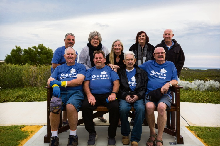 Wanneroo Mayor Tracey Roberts with Quinns Men's Shed members and residents.