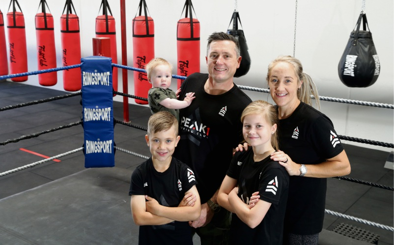 Mick and Claire Hale from Peak 1 Boxing Club with their children Millie (10), Alfie (8) and Clay (6 months). Photo: Martin Kennealey