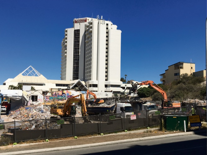 The demolition of the former Contacio site. Picture: Laura Pond.