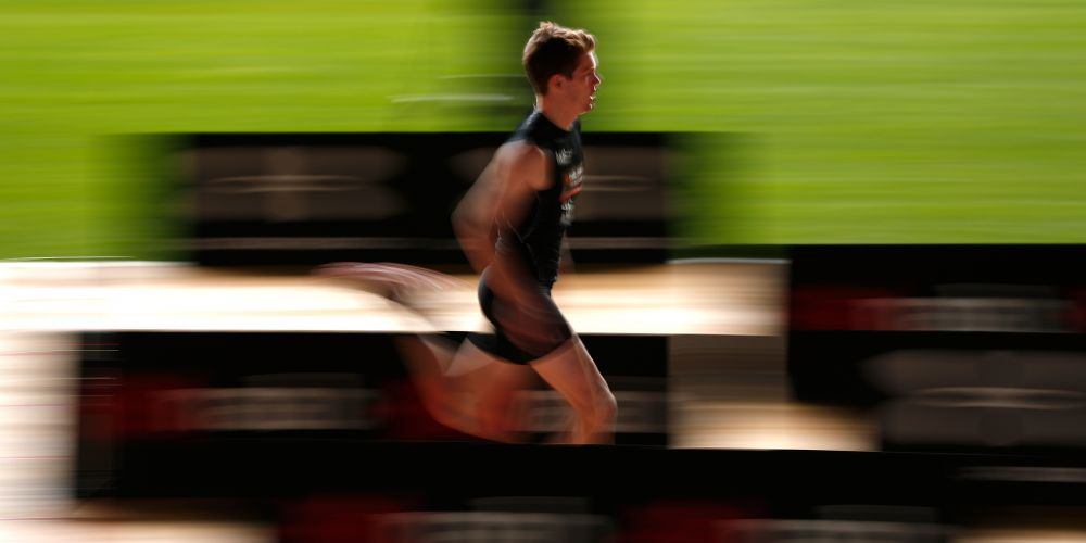 Luke Foley, performing a sprint test at the AFL Draft Combine in Melbourne last month, was taken by the West Coast Eagles Friday with pick No. 31. Picture: Michael Willson/AFL Media/Getty Images
