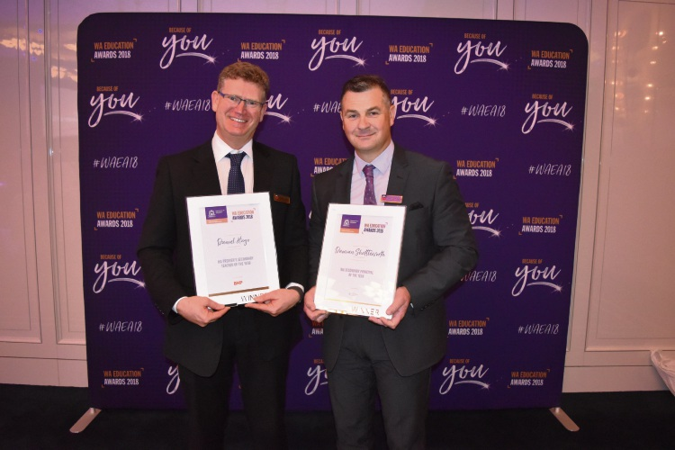 Carine Senior High School's secondary teacher of the year Daniel Hugo and principal of the year Damian Shuttleworth at the WA Education Awards. Photo: Kristie Lim