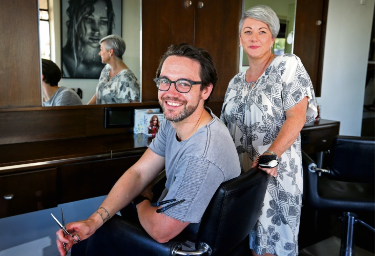 Lee Preston Hairdressing senior stylists Ronan Fitzgerald and Robyn Saunders. Picture: David Baylis.