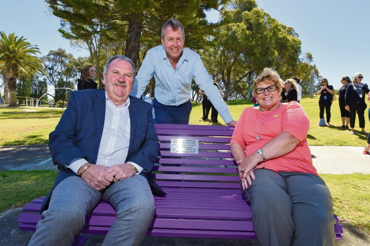 Rockingham Mayor Barry Sammels, Baldivis MLA Reece Whitby and Lucy Saw Centre chief executive Anne Moore. Picture: Jon Hewson www.communitypix.com.au   d488959