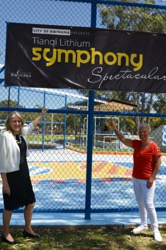 Mayor Carol Adams and Councillor Sheila Mills at the Edge Skatepark on Calista Oval.