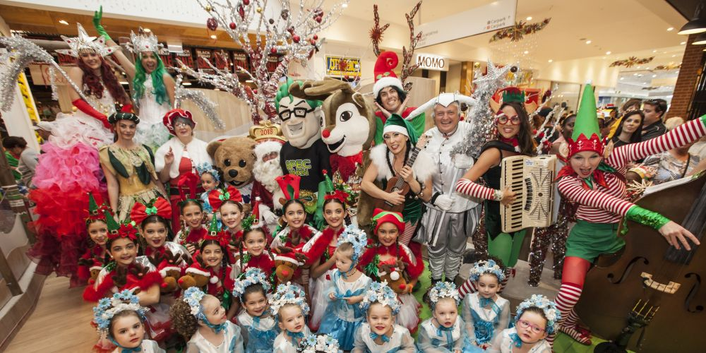 Santa and his crew at Ocean Keys Shopping Centre. Pictures: ASCP Photography