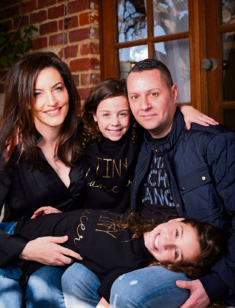 Viella Dance Collection founder Nicole Crisona (Balcatta) with husband Domonic and daughters Isabella (9) and Vienna (6).