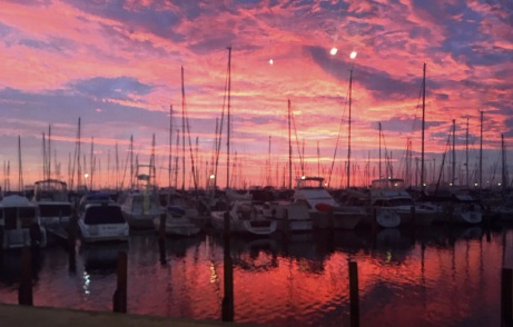 Jeff Gunningham took a beautiful picture of a sunset behind boats moored at Fremantle Sailing Club.