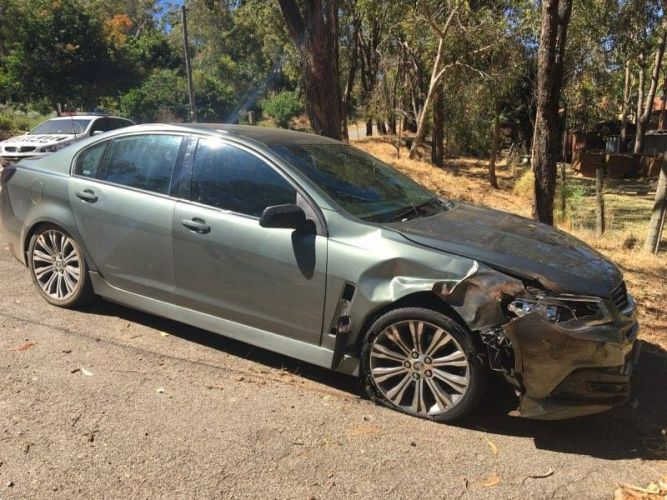 The car involved in a police chase through Glen Forrest and Darlington this morning.