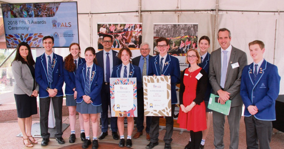 Newman College students with Aboriginal Affairs Minister Ben Wyatt (centre) at the PALS Reconciliation Awards.