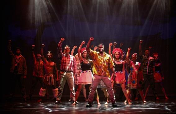 Tim 'Timomatic' Omaji (centre) in Madiba the Musical.