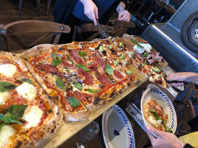 The two-metre pizza at Criniti's, Westfield Carousel.