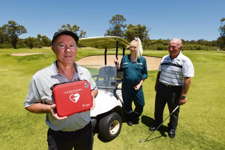 Gary Byrne, paramedic Khea Borkowski and Kwinana Golf Club member Barrie Quigley. Picture: Jon Hewson www.communitypix.com.au   d488924