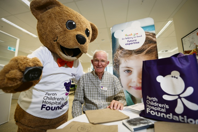 Perth Children's Hospital Foundation mascot Stitches the Bear prepares to say good bye to Leeming resident David Mitchinson. Picture: Andrew Ritchie