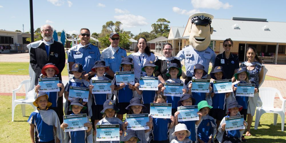 Students at Golden Bay Primary School with their Safety Heroes certificates. Picture: City of Rockingham.