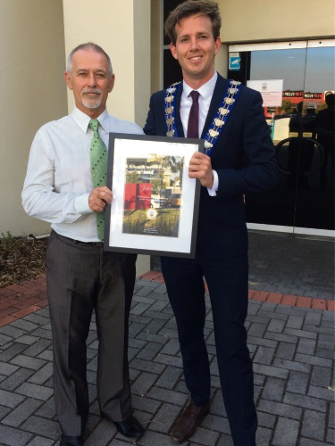 Mayor Rhys Williams with Local Legend John Nye.