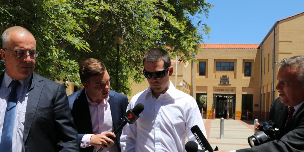 Ricky Swan outside Joondalup Magistrate's Court today with his lawyer John Hammond. Picture: Anton La Macchia