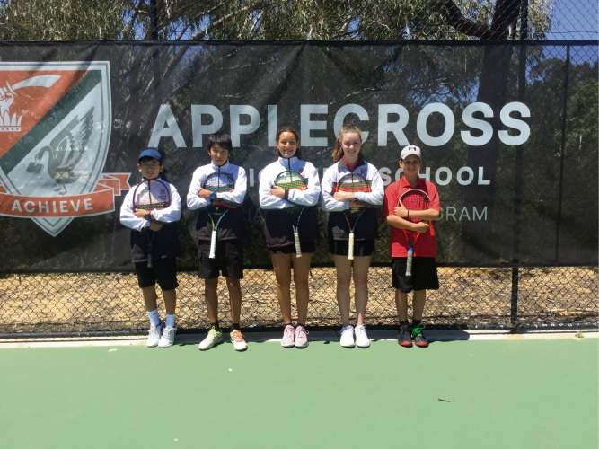 Applecross Senior High School Specialist Tennis Program members Yang Ho Park, 12, Kent Yamazaki, 14, Shanelle Iaconi, 14, Talia Gibson, 14, and Marko Mrdak 12, are heading to Melbourne.
