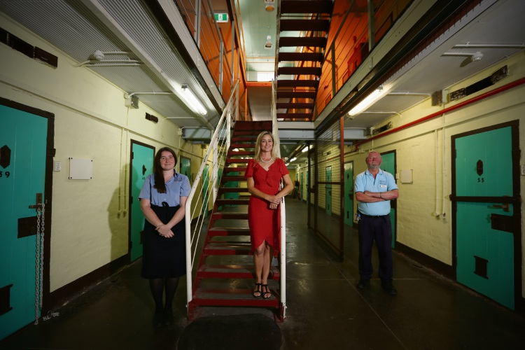 Fremantle Prison's Alex Mansfield (Ticketing Officer), Paula Nelson (Director Fremantle Prison) and Steve Green (Tour Guide). Photo: Andrew Ritchie. d489067 communitypix.com.au