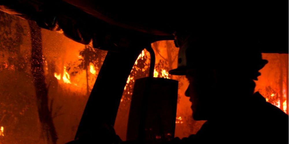 Firefighter in the thick of the Sawyers Valley fire in Bushfire Wars to be screened on National Geographic. Picture: Sea Dog TV International