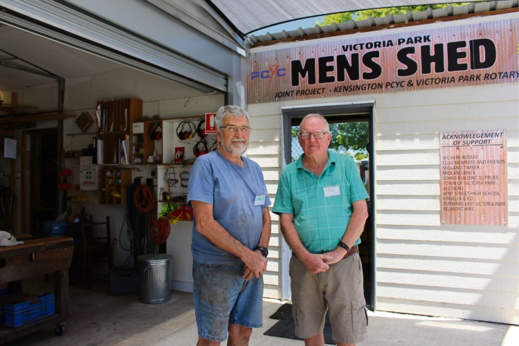 Shed member Mike Stanley and Peter Guthrie at Victoria Park Men's Shed on Anketell Street. Picture: Nadia Budihardjo.