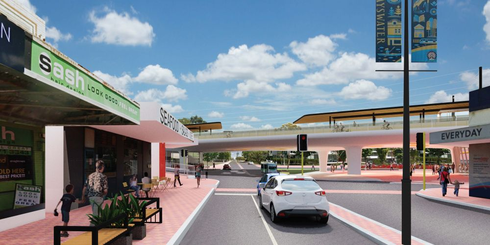 An artist impression of the upgraded Bayswater train station, looking from King William Street.