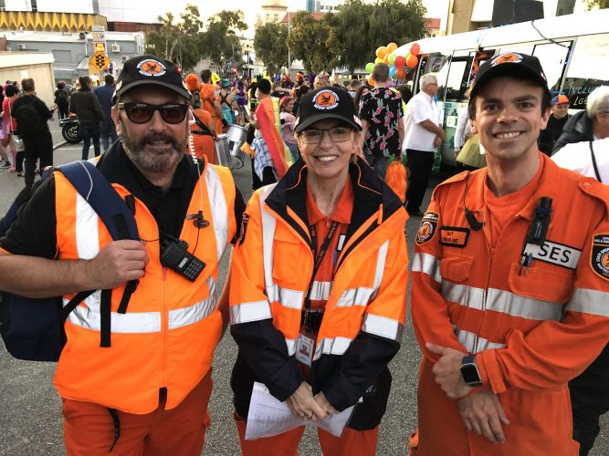 Eddie White (Cockburn SES) with Stirling SES volunteers Matthew Morris and Jean Watson at the 2018 Perth Pride Parade