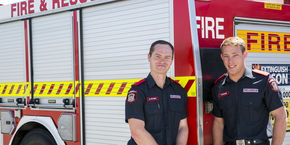 Fire Fighter School 82 graduates Matthew Rogers and Timothy Rayner. Picture: DFES